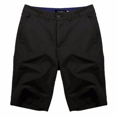 Solid Pattern Zipper Fly Closure Cotton Polyester Fabric Mid Waist Shorts For Men- Black