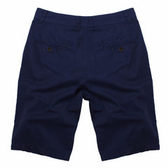 Solid Pattern Zipper Fly Closure Cotton Polyester Fabric Mid Waist Shorts For Men- Blue