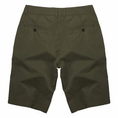 Solid Pattern Zipper Fly Closure Cotton Polyester Fabric Mid Waist Shorts For Men- Army Green