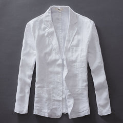 Casual Style Single Breasted Closure Cotton Linen Fabric Full Length Blazer Jacket For Men- White