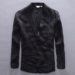 Casual Style Single Breasted Closure Cotton Linen Fabric Full Length Blazer Jacket For Men- Black