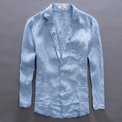 Casual Style Single Breasted Closure Cotton Linen Fabric Full Length Blazer Jacket For Men- Light Blue