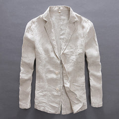 Casual Style Single Breasted Closure Cotton Linen Fabric Full Length Blazer Jacket For Men- Khaki