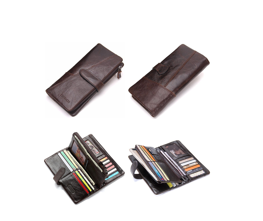 Horse Leather Hasp Closure Polyester Lining Multiple Compartment Men Wallet