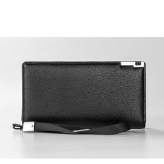 Sequined Decoration PU Leather Composition Zipper Closure Solid Pattern Long Business Purse Clutch Wallet For Men- Black