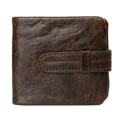Bifold Hasp Closure Genuine Leather Solid Pattern Polyester Lining Casual Coffee Color Standard Wallet For Men- Coffee W