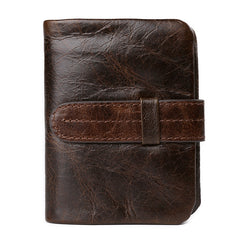 Bifold Hasp Closure Genuine Leather Solid Pattern Polyester Lining Casual Coffee Color Standard Wallet For Men- Coffee L