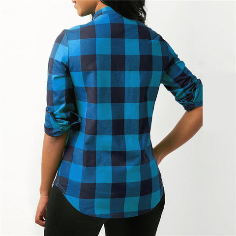 Pocket Decoration Plaid Pattern Broadcloth Fabric Blouse Top For Women - Blue