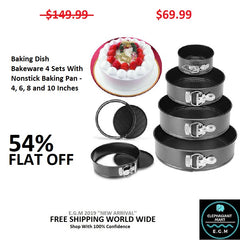 Baking Dish Bakeware 4 Sets With Nonstick Baking Pan - 4, 6, 8 and 10 Inches