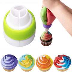 Icing & Piping Cake Decorating Pastry Tricolor Converter Baking Tool Set