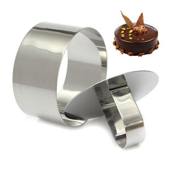 Round Silver Ring Stainless Steel Slicer Cutter Hand Push Cake Moulding Tool