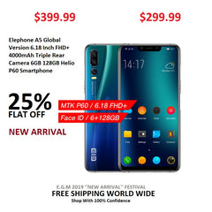 Elephone A5 Global Version 6.18 Inch FHD+ 4000mAh Triple Rear Camera 6GB 128GB Helio P60 Smartphone