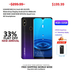 LEAGOO M13 6.1 Inch HD 19:9 IPS Waterdrop Diaplay Android 9.0 3000mAh 4GB RAM 32GB ROM MT6761 Quad Core 4G Smartphone