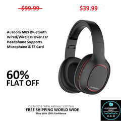 Ausdom M09 Bluetooth Wired/Wireless Over-Ear Headphone Supports Microphone & TF Card