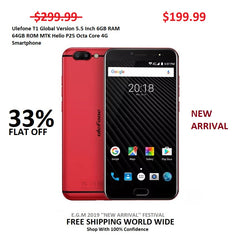 Ulefone T1 Global Version 5.5 Inch 6GB RAM 64GB ROM MTK Helio P25 Octa Core 4G Smartphone