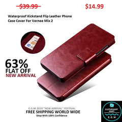 Waterproof Kickstand Flip Leather Phone Case Cover For Vernee Mix 2
