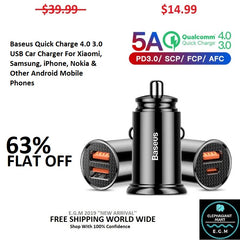 Baseus Quick Charge 4.0 3.0 USB Car Charger For Xiaomi, Samsung, iPhone, Nokia & Other Android Mobile Phones
