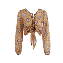 Print Pattern Bow Decoration Cotton Chiffon Fabric Women Blouse