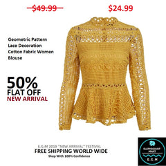 Geometric Pattern Lace Decoration Cotton Fabric Women Blouse