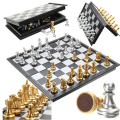 Chess Game Silver Gold Pieces Folding Magnetic Foldable Board Game Contemporary Set
