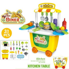 Kids Kitchen Pretend Tableware Maintenance Tools Ice Cream Hamburger Toy Suit