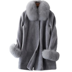 Covered Button Closure Fox Fur Collar Decoration Jacket Coat For Women