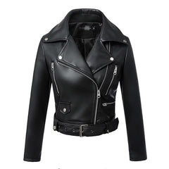 Faux Leather Turn Down Collar Pocket Decoration Jacket Coat For Women