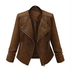 Faux Leather Diamond Spliced Decoration Zipper Closure Jacket Coat For Women