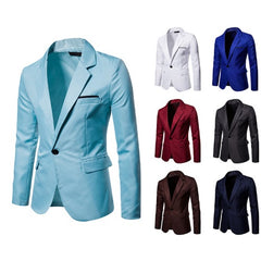 Zipper Closure Cotton Blend Fabric Men Blazer Jacket Suit.