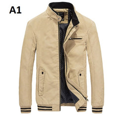 Rib Sleeve Cuff Zipper Closure Pocket Decoration Men Jacket.
