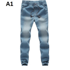 Scratched Decoration Mid Elastic Waist Men Denim Jeans.