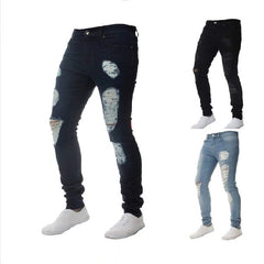 Solid Pattern Mid Waist Hole Decoration Zipper Fly Closure Denim Men Jeans.