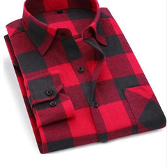 Turn Down Collar Plaid Pattern Cotton Fabric Men Shirt.