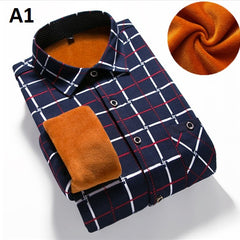 Flannel Cotton Fabric Turn Down Collar Plaid Pattern Men Shirt.