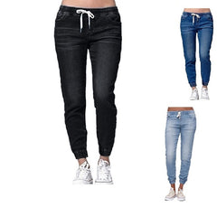 Drawstring Closure Sashes Pocket Decoration Mid Waist Women Jeans.