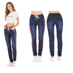 Spliced Panelled Pocket Decoration Elastic Mid Waist Closure Women Jeans.