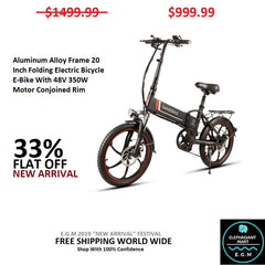 Aluminum Alloy Frame 20 Inch Folding Electric Bicycle E-Bike With 48V 350W Motor Conjoined Rim