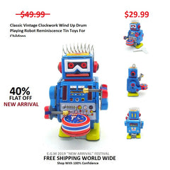 Classic Vintage Clockwork Wind Up Drum Playing Robot Reminiscence Tin Toys For Children