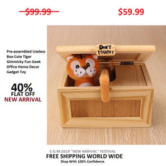 Pre-assembled Useless Box Cute Tiger Gimmicky Fun Geek Office Home Decor Gadget Toy