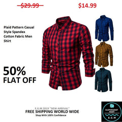 Plaid Pattern Casual Style Spandex Cotton Fabric Men Shirt