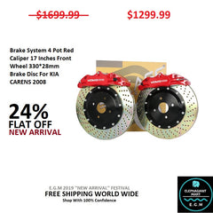 Brake System 4 Pot Red Caliper 17 Inches Front Wheel 330*28mm Brake Disc For KIA CARENS 2008