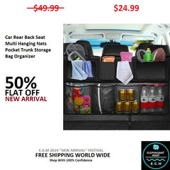 Car Rear Back Seat Multi Hanging Nets Pocket Trunk Storage Bag Organizer