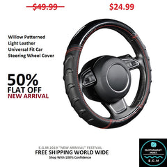 Willow Patterned Light Leather Universal Fit Car Steering Wheel Cover