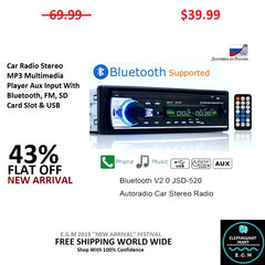 Car Radio Stereo MP3 Multimedia Player Aux Input With Bluetooth, FM, SD Card Slot & USB