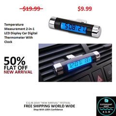Temperature Measurement 2-in-1 LCD Display Car Digital Thermometer With Clock