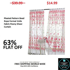 Pleated Pattern Bead Rope Format Voile Fabric Peony Sheer Curtain