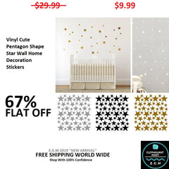 Vinyl Cute Pentagon Shape Star Wall Home Decoration Stickers