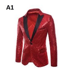 Full Sleeve Single Button Decoration Men Sequin Blazer Suit