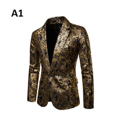 Full Sleeve Single Button Decoration Polyester Fabric Men Blazer Suit