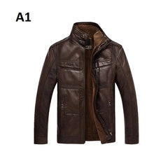 Pocket Decoration Zipper Closure Mandarin Collar Men Leather Jacket
